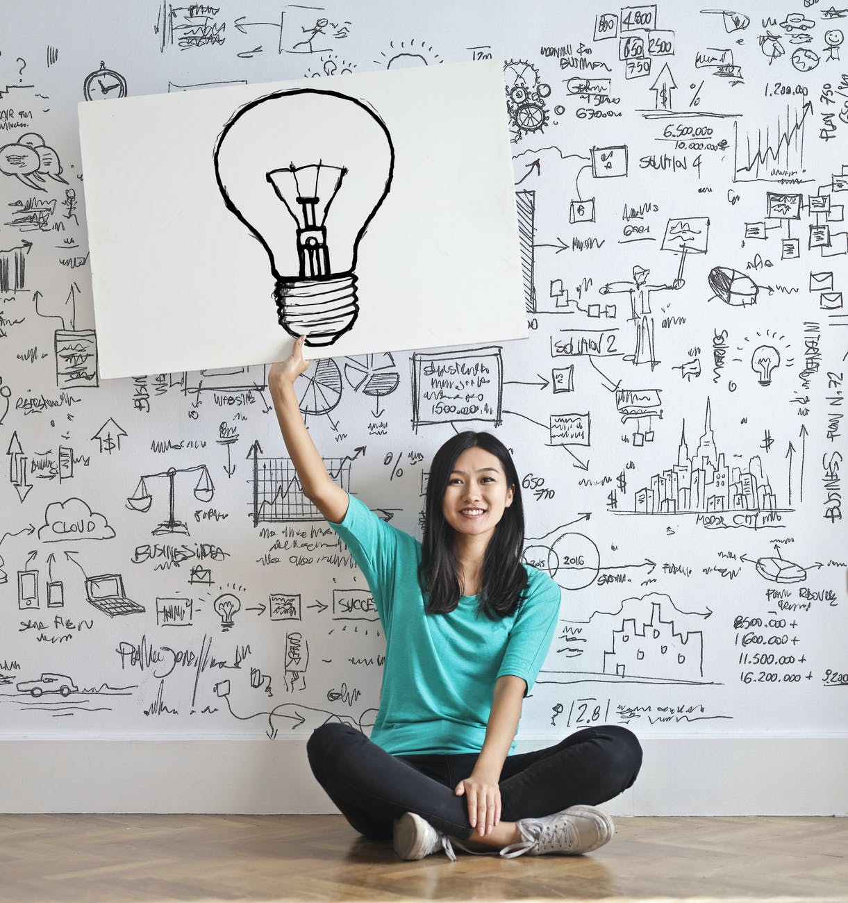 woman draw a light bulb in white board  a personal growth journey